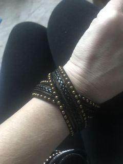 New with tags black and gold wrap bracelet