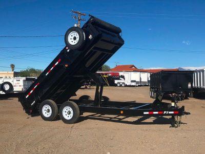 7x14 Low Pro Dump, GVWR 16,000 lbs, Bobcat Trailer, Excavator Hauler, DL142-J Black