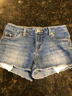 Girls Levi s jean shorts with lace detail. Excellent condition. SF. Size 12. $3
