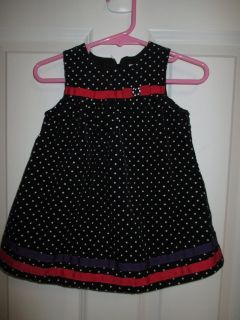 Toddler Girls' Gymboree Black Polka Dot Dress Jumper Size 6-12 months