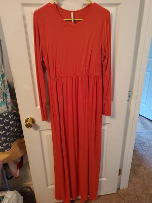 Orange Long sleeve boutique maxi dress