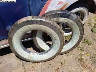 Two Firestone wide white wall tire unused 5.60 15