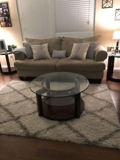 Glass/Wood round coffee table