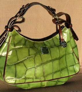Dooney & Bourke Turtle Green Brown Leather Trim Handbag