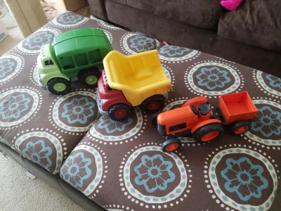 Green toys trucks Recycling truck Dump truck And tractor
