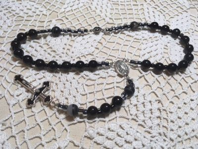 Auto Rosary Black Obsidian Beads Round Italian Silver Medal Special Benedictine Crucifix with Bl...