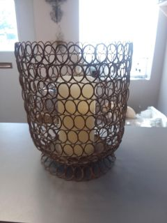 DISTRESSED IRON CANDLE HOLDER