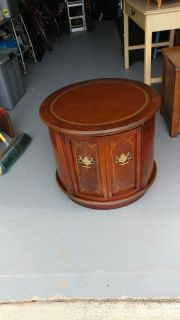 1968 Table. Leather Inlay Restained and Polished. 25 round. Height 21