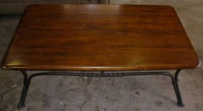 Solid Wood with Iron Base Coffee Table