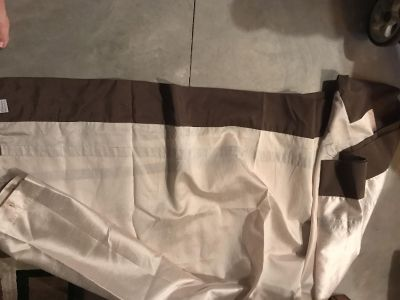 Cream and brown shower curtain and large bath mat