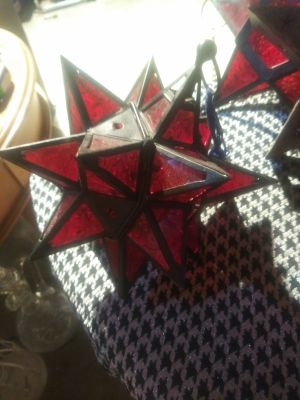Red glass hanging star