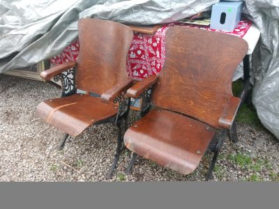 Antique wood theater chairs