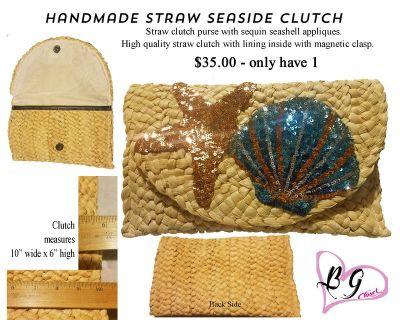 Handmade Straw Clutch with Sequin Seashell's