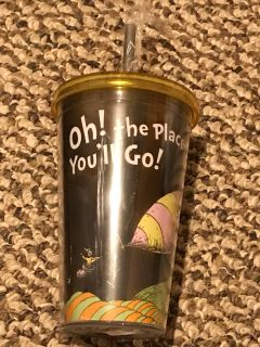 18 ounce full size Acrylic Dr. Seuss Travel cup with screw on top and straw.