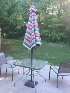 Outdoor patio table umbrella and 2 chairs