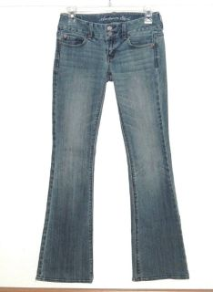Womens 0 American Eagle Artist Ultra Low Flare Denim Jeans Stretch Medium Blue Wash