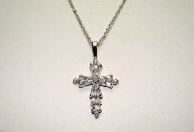 "14K W.G. Affinity .50 CT Baguette Diamond Overlaid Crucifix 16"" Pendant Necklace"