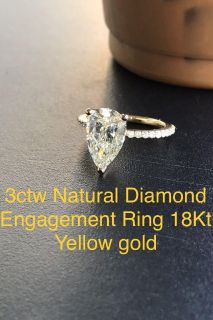 3ct diamond engagement ring 18kt yellow gold