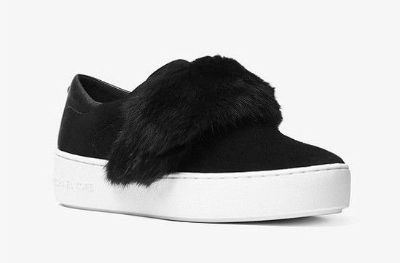 MICHAEL Michael Kors MAVEN Fur And Suede Slip-On Sneaker Size US 7.0