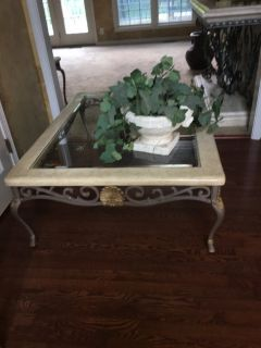 Coffee table and side table - metal, faux stone and glass