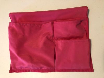 Hanging pockets for end of bed - hot pink