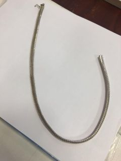 sterling silver flat omega necklace