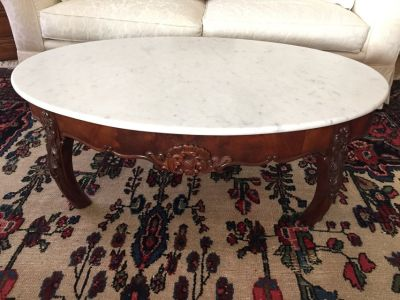 Carrara and wood coffee table