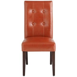 Like New Pier 1 Leather Rust Parsons Dining Chairs w/ Espresso Wood (set of 4)