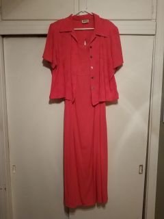 SIZE 18, K STUDIO, CORAL SUN DRESS WITH JACKET, EXCELLENT CONDITION, SMOKE FREE HOUSE