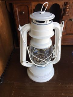 White metal LED lantern