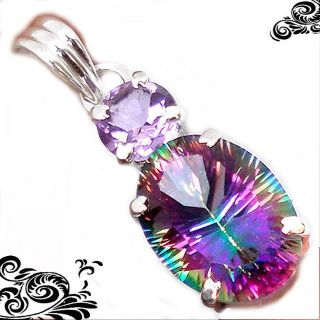 New - Rainbow Topaz and Amethyst 925 Sterling Silver Pendant (Includes a chain)