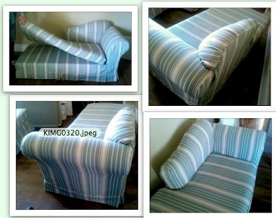 2 SOFAS + 2 ps SLIPCOVERS CHAISE LOUNGE STRIPED WASHABLE