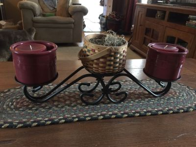 Longaberger wrought iron with basket and two crocks