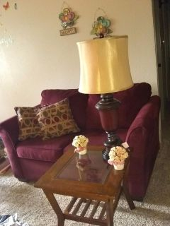 Loveseat with 3 matching coffee tables & 2 Lamps
