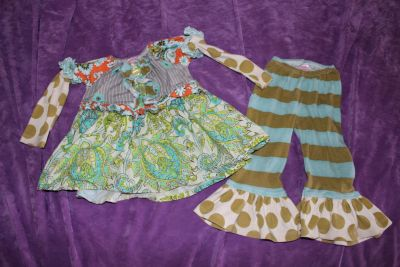 Giggle Moon 2 Piece Long Sleeve Dress and Flare Pants Outfit size 24 Months