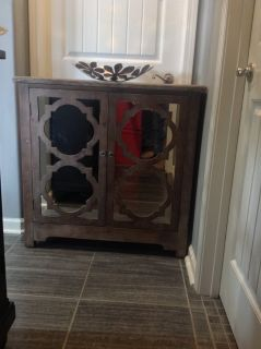 New! Wood Accent Mirrored Cabinet Nightstand Table
