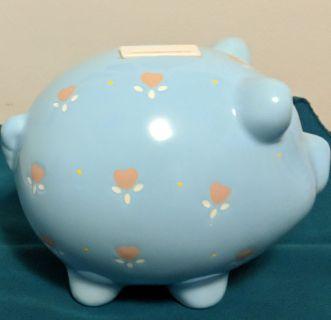 Blue Baby Large Ceramic Piggy Bank