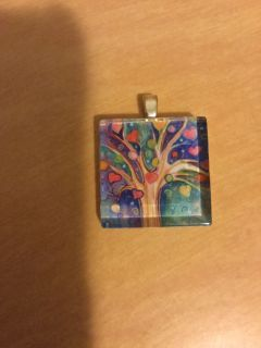 Glass necklace charm slide