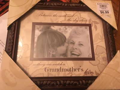 New in box. Grandmothers picture frame from Kirkland s. Holds 4 x 6 pic