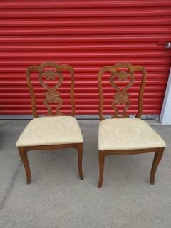 2 Beautiful Scroll Wood backed padded chairs