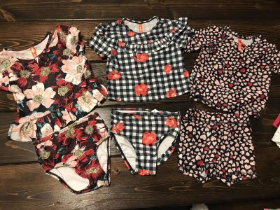 3 baby girls size 6-12mos bathing suits