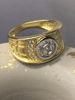 14k Gold Plated Over Solid Sterling Silver Men s Ring Size 8