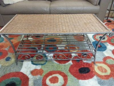 Coffee table. Wicker and metal