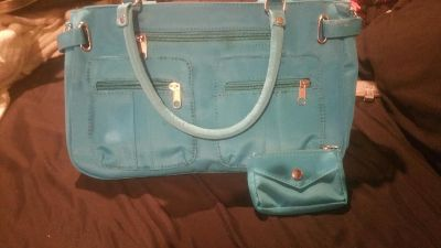 Teal hand bag with matching change purse
