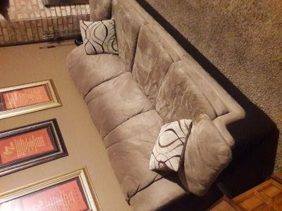 Tan and Dark Brown Sofa with Matching Loveseat & Pillows