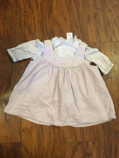 Chaps baby purple floral long sleeve onesie with corduroy dress - size newborn