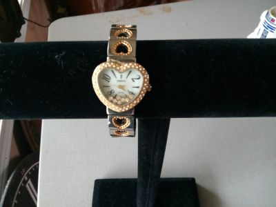 Geneva Elite Heart Rhinestone Cuff Style Watch