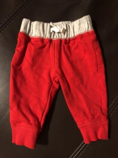 Infant Adorable Red And Grey Drawstring Pants. Great For Now And Christmas . Size Newborn