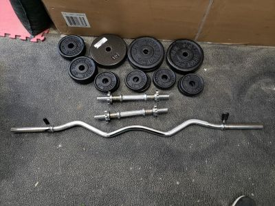 """100lbs in 1"""" weight plates + bars"""
