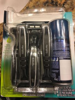 11 Gillette Sensitive Razors with shave gel. I bought he wrong type and used 2. County line and 725.